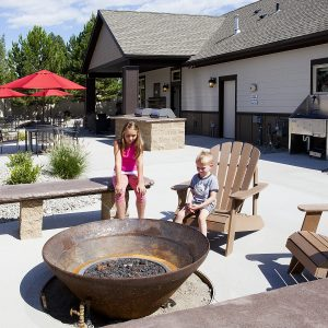 Fire pit in community area