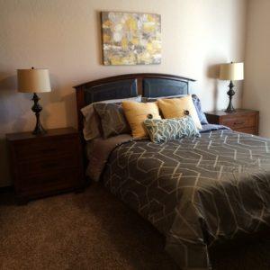 Master bedroom in model apartment
